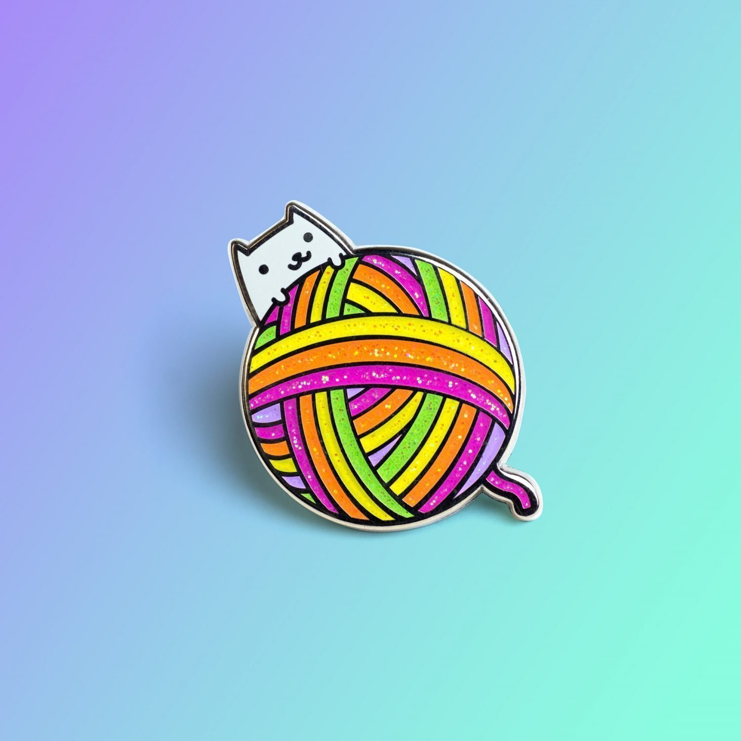 Yarnball Cat Pin by Robot Dance Party